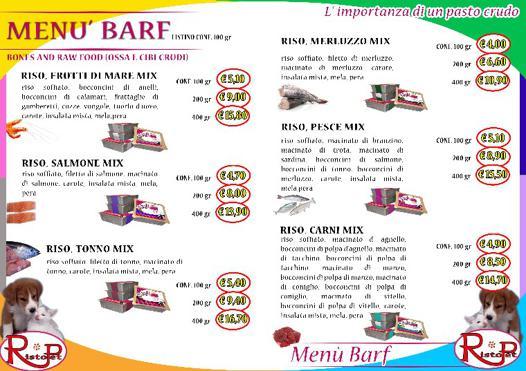 menu barf